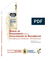 Manual de Catalogacion de Documentos Historicos y Etnograficos