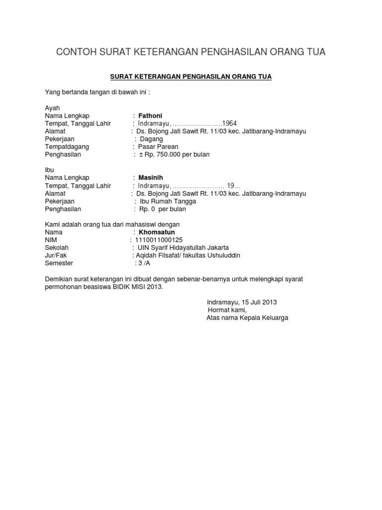 Contoh Surat Keterangan Penghasilan Wiraswasta Dari Kelurahan