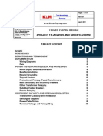 Project Standards and Specifications Power System Design Rev01