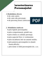 Caracterizarea                          Personajului
