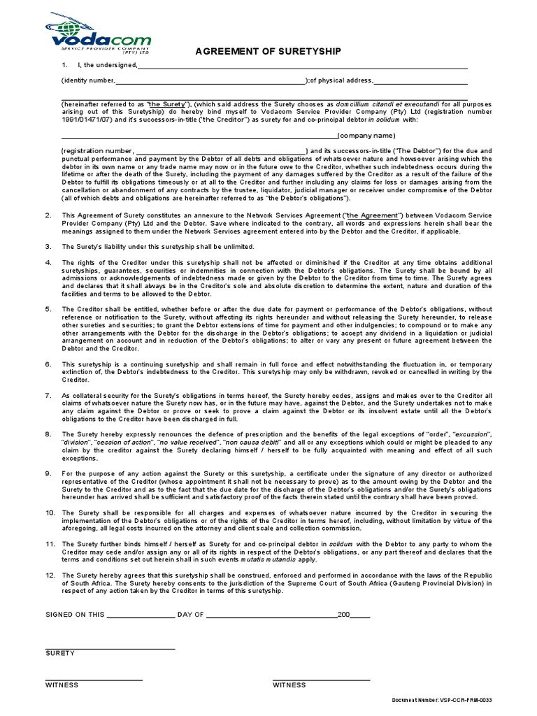 Agreement Of Suretyship Virtue Social Institutions