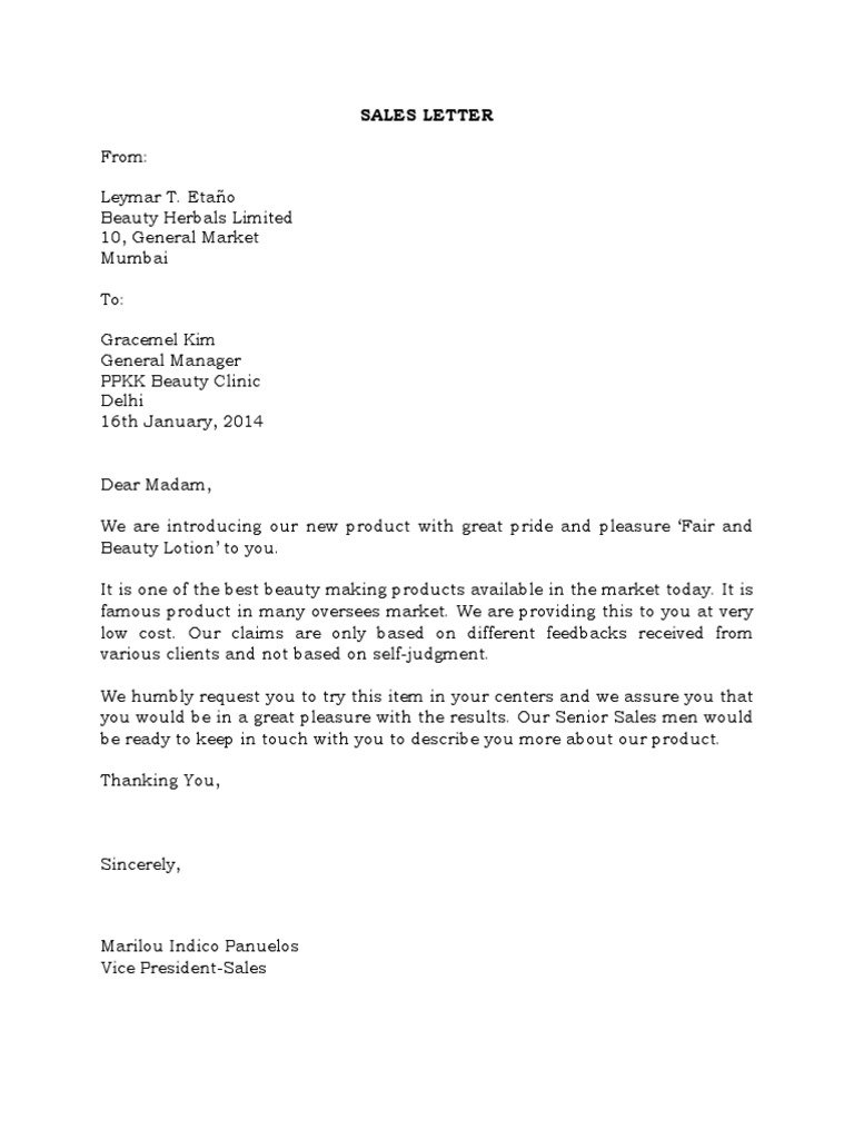 cover letter for sales sales letter business 21091