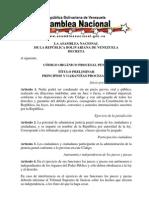 CÓDIGO ORGÁNICO PROCESAL PENAL SANCIONADO EL 04-09-09
