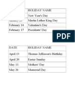 Holiday Calenday 2014