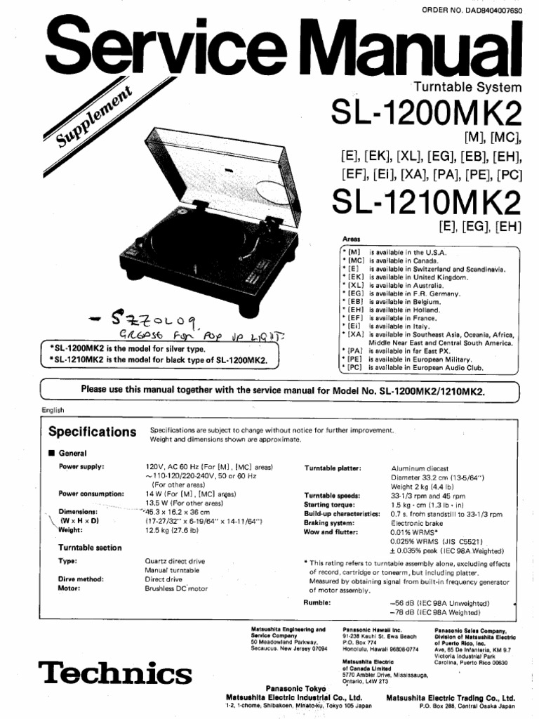 TECHNICS SL 1200 MK2 SERVICE MANUAL EBOOK DOWNLOAD