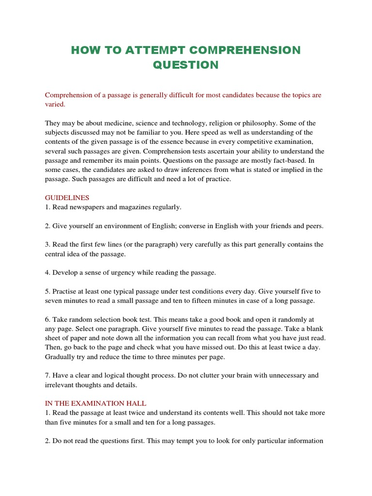 - How To Attempt Comprehension Question Reading Comprehension