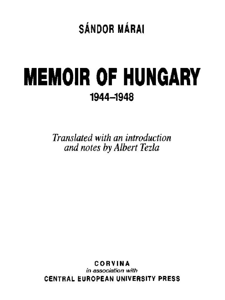 204715676 sandor marai memoir of hungary 1944 1948pdf hungary 204715676 sandor marai memoir of hungary 1944 1948pdf hungary humanism fandeluxe Images