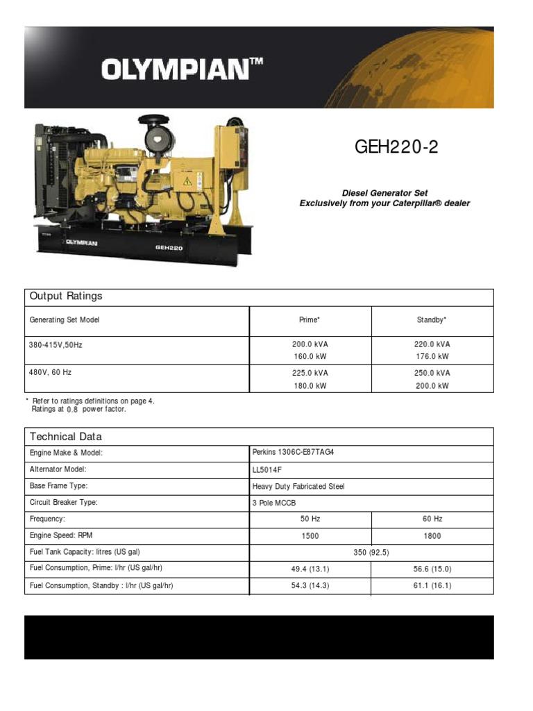 caterpillar olympian geh 220 2 technical sheet diesel engine rh scribd com olympian geh 220-2 manual