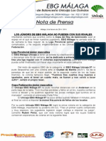 10.- COMPLICADA JORNADA JÚNIOR PARA EBG MÁLAGA