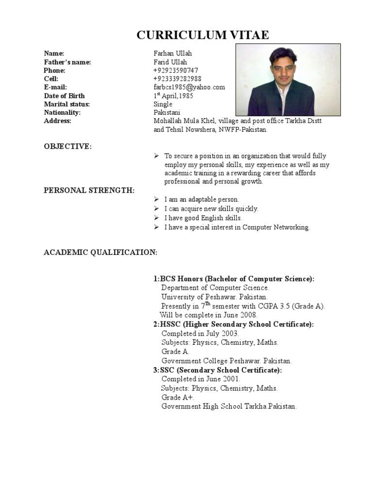farhan cv from pakistan - Biodata Format For School Teacher
