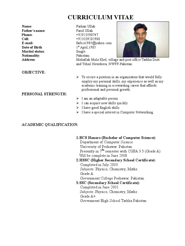 farhan cv from pakistan - Computer Science Resume Doc