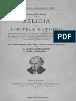 I.kant,Religia in Limitele Ratiunii,Buc.,1924.