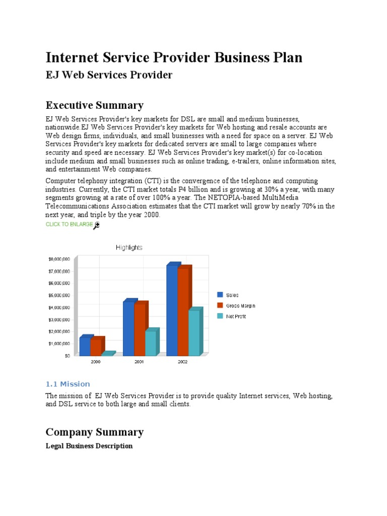 Internet Service Provider Business Plan   Digital ...