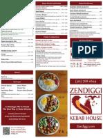 Zendiggi Kebab House Menu