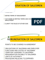 Remuneration of Salesmen