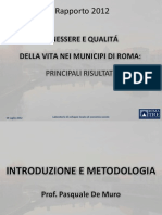 Presentazione rapporto 2012 Benessere e Qualità della vita nei municipi di Roma