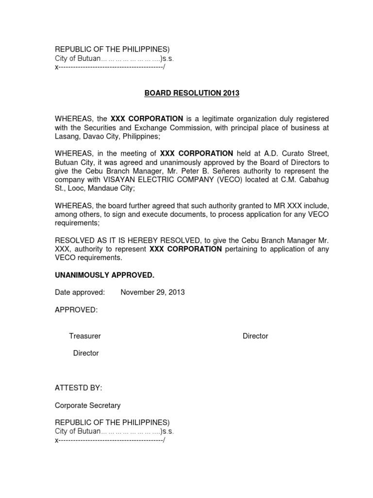 Sample board resolution society social institutions yadclub Gallery