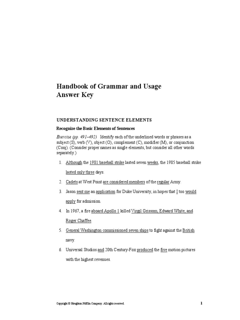 Answer Key The Beatles – Language Handbook Worksheets Answer Key Online
