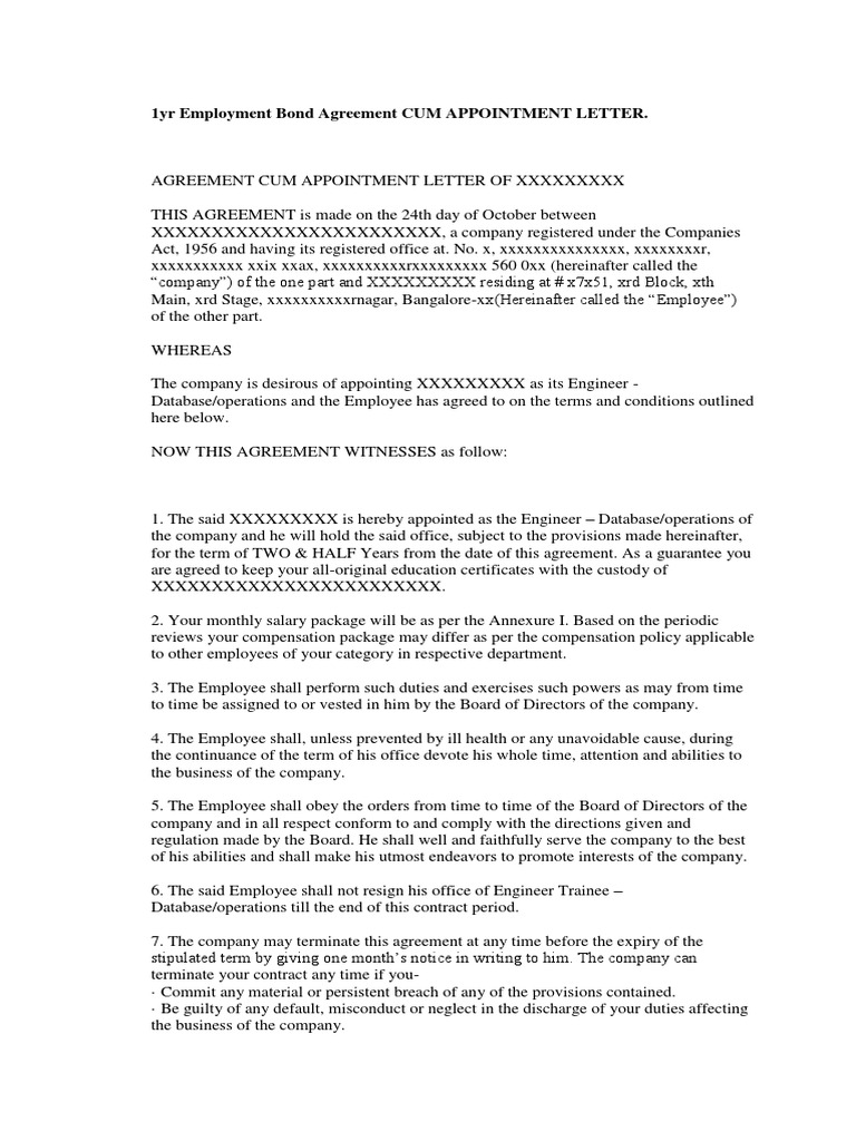 1yr Employment Bond Agreement Cum Appointment Letter – Sample Commercial Security Agreement Template