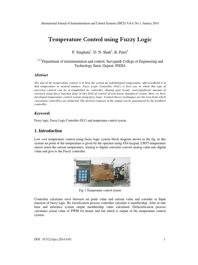 Temperature Control Using Fuzzy Logic System P Controller Block Diagram