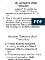 Important Questions About Translation