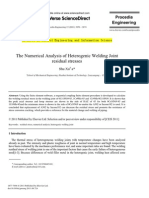 The Numerical Analysis of Heterogenic Welding Joint Residual Stresses