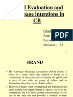 Brand Evaluation and Patronage Intentions in CB