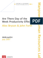 Are There Day of the Week Productivity Effects? Alex Bryson