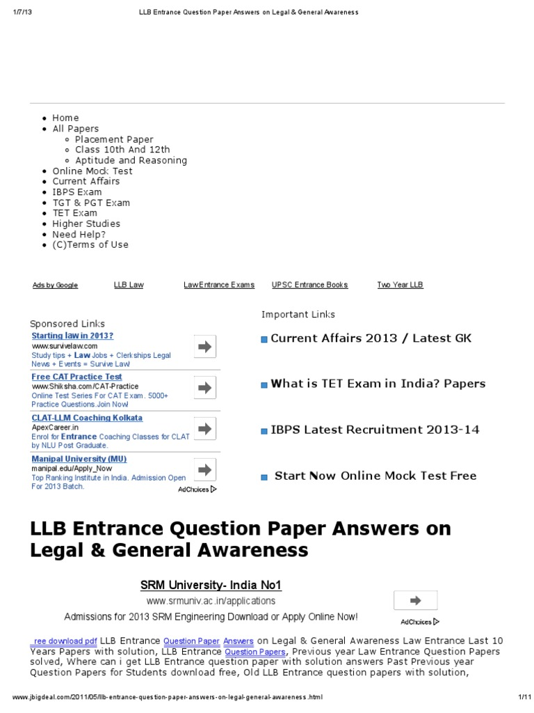 LLB Entrance Question Paper Answers on Legal & General