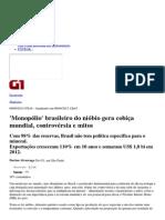 G1 - 'Monopólio' brasileiro do nióbio gera cobiça mundial, controvérsia e mitos - notícias em Negócios