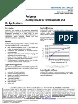 TDS-737 Carbopol 676 Polymer | Viscosity | Bleach