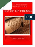Revue de Presse- Jeudi 16 Janvier 2014