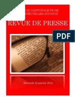 Revue de Presse- Mercredi 22 Janvier 2014