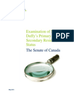 Examination Of  Senator Duffy's Primary And Secondary Residence Status - The Senate Of Canada