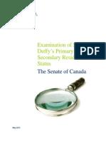 Examination Of  Senator Duffy's Primary And Secondary Residence Status - The Senate Of Canada