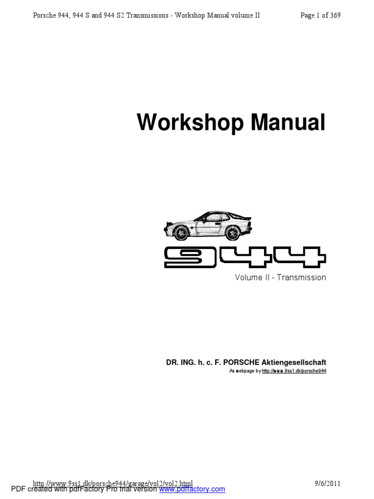 Workshop Manual  Page 1 Of 369 Porsche 944  944 S And 944
