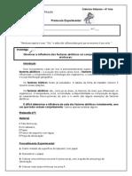 Protocolo Experimental - Influência fatores abióticos Minhocas
