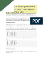 Cómo utilizar macros para ordenar los datos en varias columnas como una columna en Excel