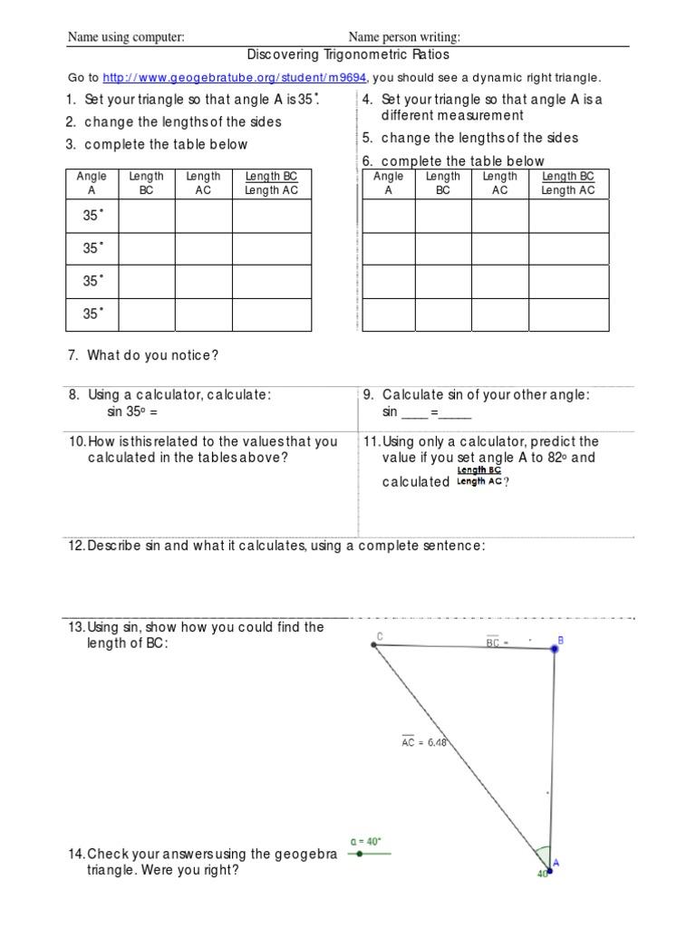 Worksheet Trig Ratios Worksheet Worksheet Fun Worksheet Study Site