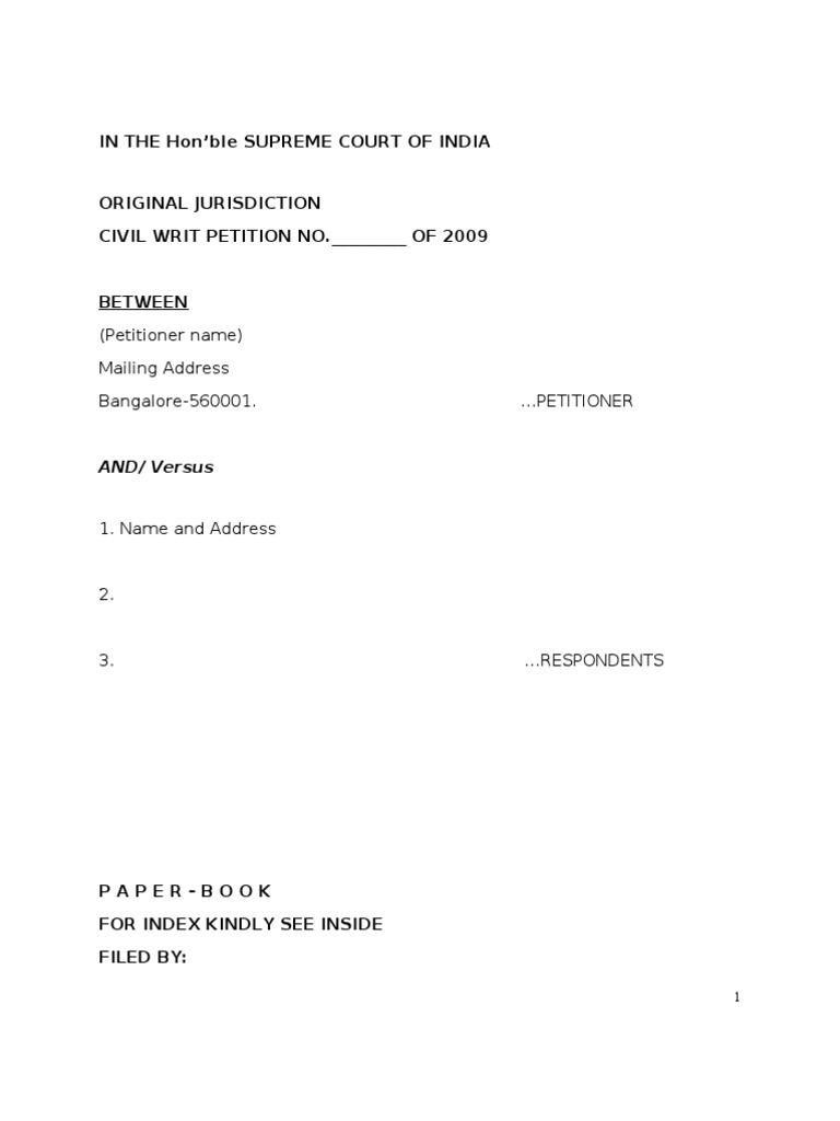 Sample Writ Petition Supreme Court India | Writ | Affidavit