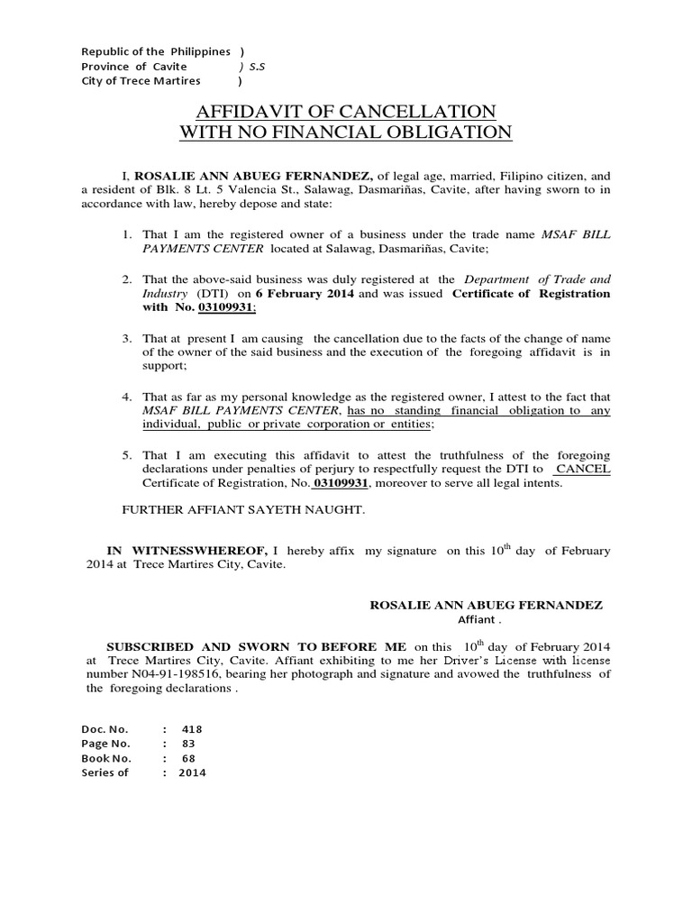 2014 affidavit of dti cancellation rosalie ann abueg fernandez spiritdancerdesigns Choice Image
