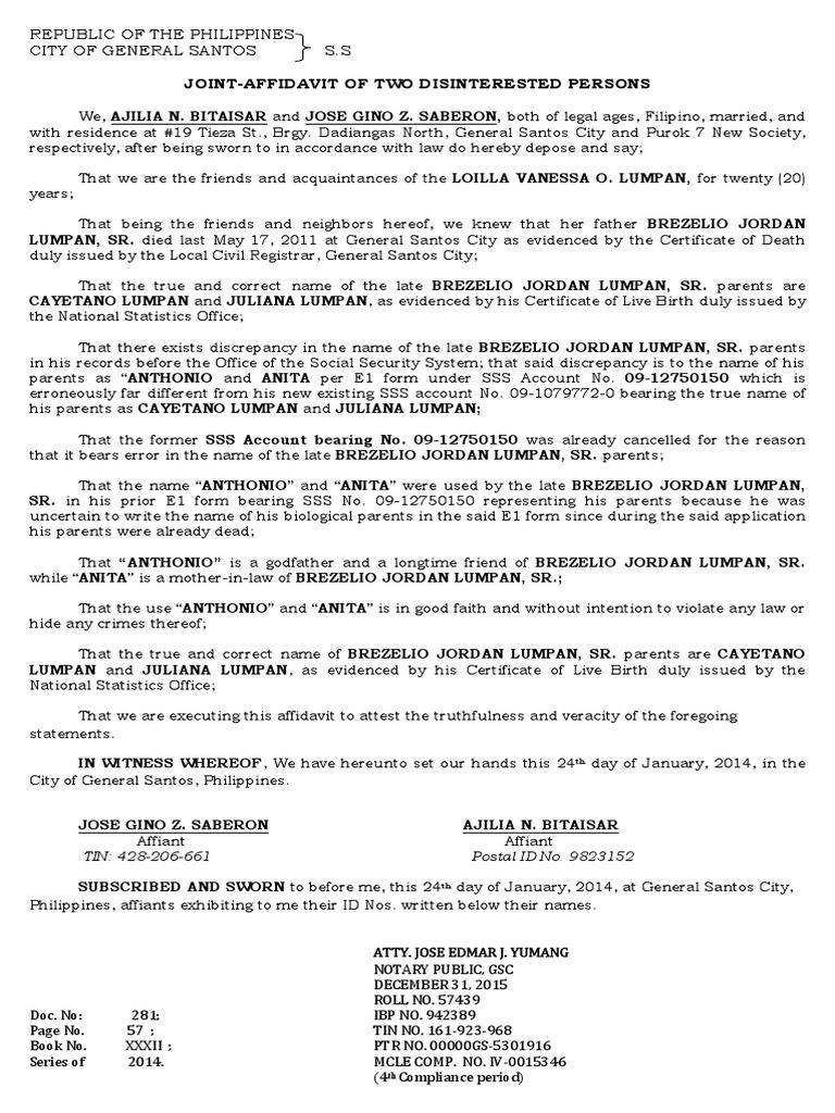 AFFIDAVIT of 2 Disinterested Persons Correction of NameCUAREZ – Name Affidavit Form