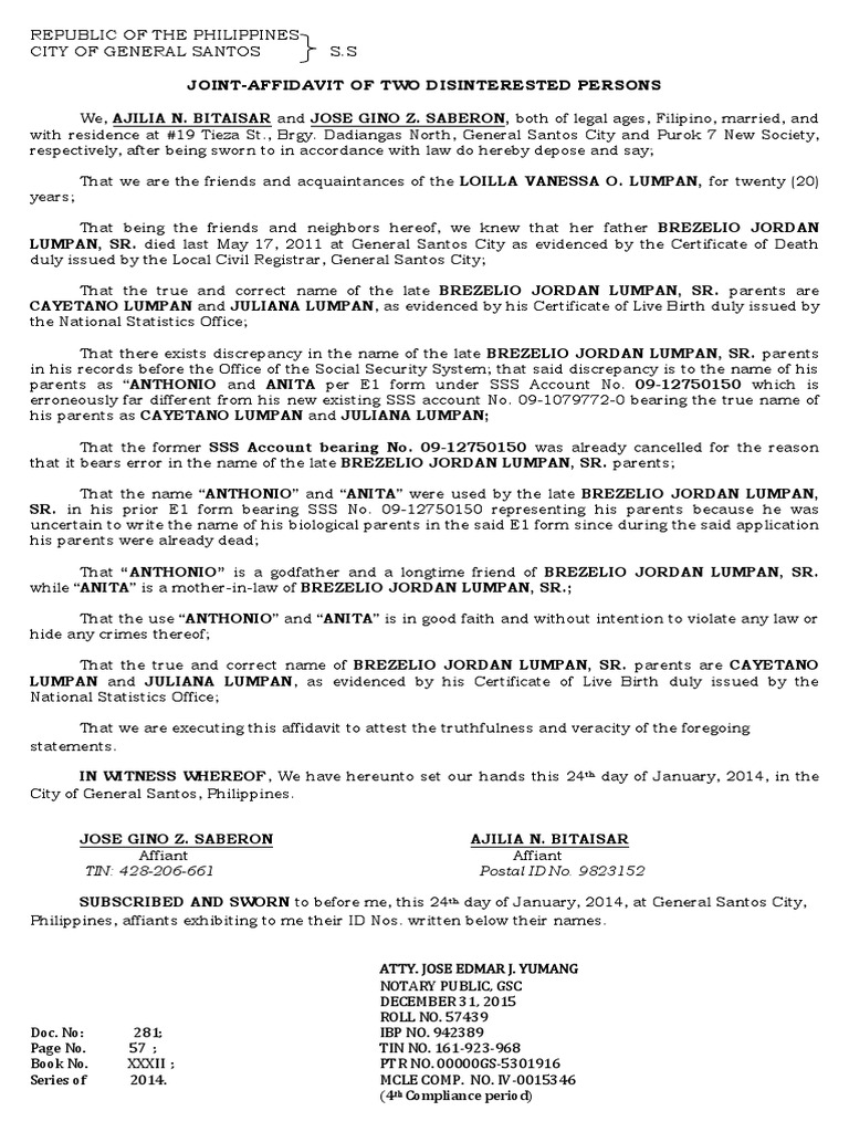 Affidavit of 2 disinterested persons correction of name cuarez affidavit of 2 disinterested persons correction of name cuarez common law civil law common law spiritdancerdesigns Images