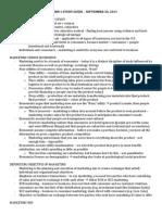 Marketing Midterm 1 Study Guide