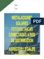 INSTALACIONES  SOLARES  FOTOVOLTAICAS  CONECTADAS A RED  DE DISTRIBUCION ASPECTOS LEGALES