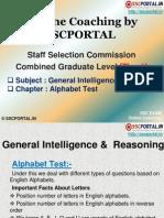 Online Coaching SSC CGL Tier 1 Reasoning Alphabet Test