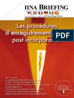 Les Procedures d'enregistrement pre et post incorporation