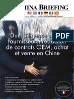 Due Diligence sur les fournisseurs, redaction de contrats OEM, achat et vente en Chine