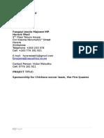 Chichera Soccer Team Proposal