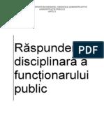 Raspunderea Disciplinara a Functionarului Public